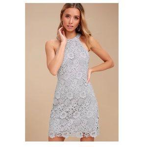 Lulu's Love Poem Light Grey Lace Mini Dress Medium